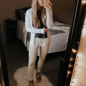 Belle White Ruffle Sleeve Cardigan